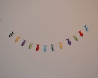 Fabric garlands of 6 sardines
