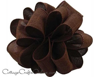 "Fall Wired Ribbon, 2 1/2"", Chocolate Brown Faux Linen - THREE YARDS  - Offray ""Divine"" Thanksgiving, Wedding Ribbon, Wire Edged Ribbon"