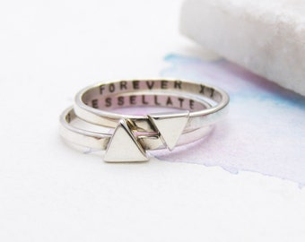 Personalised Triangle Stacking Rings   Geometric Rings   Contemporary Stacking Rings   Mantra Jewellery   Silver Triangle Ring
