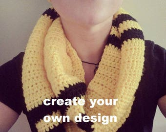 Create your own design - Crochet Skinny Stripes Infinity Scarf