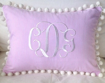 Monogrammed Seersucker or Pique Pom Pom Pillow Cover