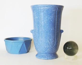 "Robinson Ransbottom Art Deco Vase #127 Blue Victoria Glaze 10"" Tall Vintage 1938"