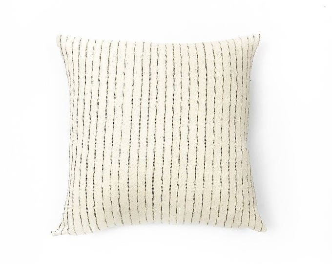 Woven Natural Cotton Stripe Tribal Textile Pillow Cover 20x20