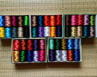 Set of 50 Art Silk Thread Spools, Embroidery Thread, Art Silk Thread, Silk Embroidery Thread