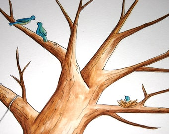 Original Baby Shower Tree Guest Book finger print Original Water Color Illustration- bird nest- Custumize