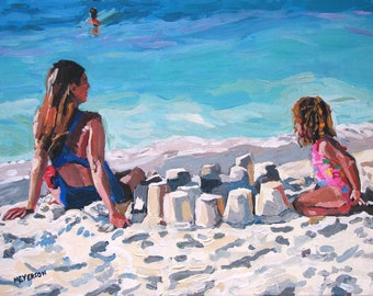 Beach Art Sand Castles  Fine Art Print, Mother and Child at Beach Summer aqua turquoise blue Painting by Gwen Meyerson