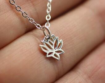 TINY LOTUS FLOWER Necklace - 925 Sterling Silver Namaste Charm Yoga Flower Ohm