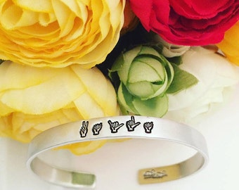 Custom Name Bracelet - Exclusive Sign Language Jewelry - Name Cuff Bracelet - Hand Stamped Stacking Personalized Cuff Bracelet - ASL Jewelry