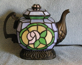 Accent Lamp - Stained Glass Teapot - Nightlight