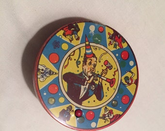 Antique Tin Litho Noisemaker - Colorful Graphics Party Noisemaker - New Year Toy