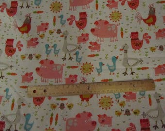 White with Farm animal/Pig/Chicken/Duck Flannel Fabric by the Yard