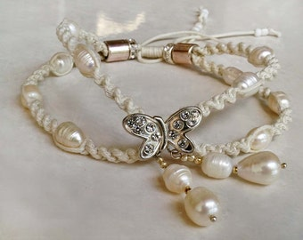 Butterfly Wedding Rhinestone Anklet, Boho Wedding Anklet, Bridal Pearl Anklet, 1 Piece
