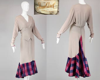 Rare 1930s Old Hollywood Jean Carol Peggy Hunt Crepe Gown with Plaid Bottom