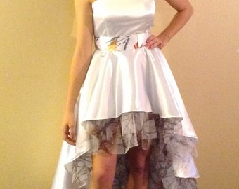 White Hi/Lo Wedding Prom Dress with White Camo Tulle Ruffles & Camo Satin Sash