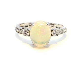 Opal Ring, Opal Engagement Ring, Raw Stone Ring, Gemstone Ring, Statement Ring, Stone Ring, Boho Ring, Birthstone Ring, October Birthstone