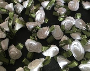 20, white ribbon roses, satin ribbon roses, white satin roses, sew on flowers, small ribbon roses, white ribbon flowers, flower appliques