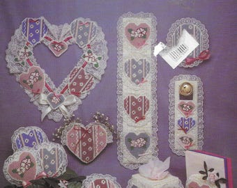 Victorian Hearts  in Plastic Canvas, Vintage Plastic Canvas,  Embroidery Patterns,  Designs for  Plastic Canvas,  Needlework Canvas