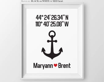 Anchor Wedding Gift For Couple Anniversary Gift Personalized Gift Couple Gift Latitude Longitude Anchor Wall Decor Anchor Decor Navy Family
