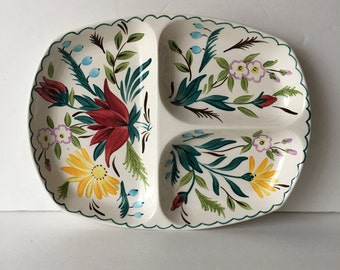Bella Vista StyleCraft Fashion Tableware by Midwinter English Staffordshire Hand Painted Divided Tray