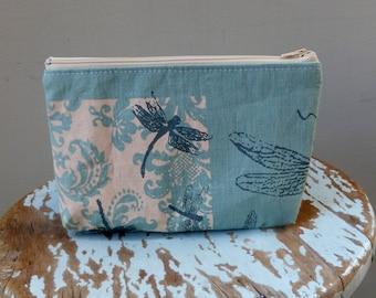 Blue Dragonfly Zipper Pouch - -  Hand Printed Linen