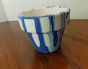 Drip painted terra cotta flower pot, blue/boy baby shower table decoration/gift ~2-8 inches~