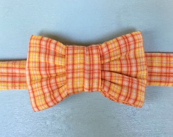 Orange Yellow Plaid Bow Tie For Cats