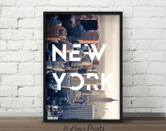 Instant Download Manhattan Printable, NY Printable, Printable Art, Manhattan Poster, New York City, New York Art, NYC, Wall Art, Poster