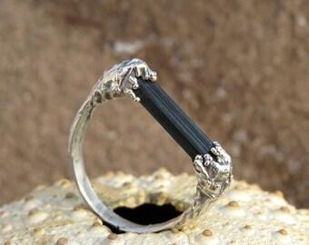 Rough tourmaline ring | Green tourmaline silver plated ring | Green tourmaline ring | Raw tourmaline electroformed ring
