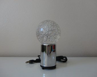 VINTAGE chrome and lucite ACCENT table lamp light - space age - bubble light lamp - multi color light lamp - as found see listing details