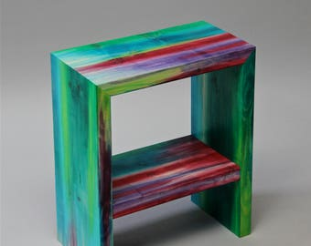 bedside table,hand made, hand painted,limited edition,unique, artistic,contemporary