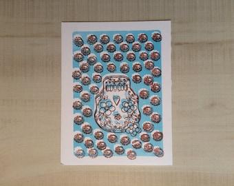 Letterpress Dainty Sugar Skull