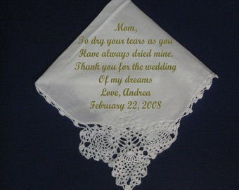 Personalized Wedding Handkerchief from Bride to Mother E576