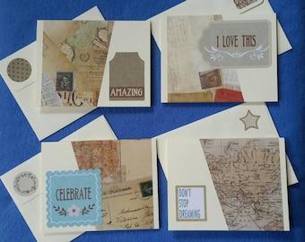 Four Handmade Greeting Cards - Amazing, Celebrate, Don't stop dreaming, I love this - vintage ephemera prints