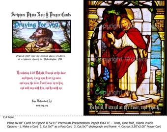 Scripture Note Cards Revelation 3-20 historic stained glass window Instant Download knocking on door red yellow blue Gina Waltersdorff Art,