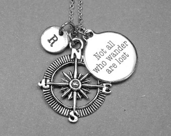 Compass necklace, Not all who wander are lost necklace, wanderlust necklace, traveler necklace, personalized necklace, initial necklace