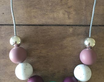 Silicone and Metallic Bead Necklace