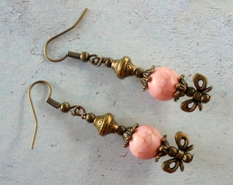 Light Pink and Brass Bow Earrings (4175)