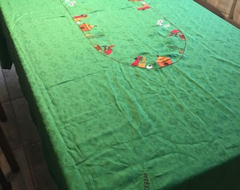 Vintage Tourist Green Table Cloth, Embroidered