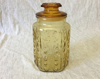 Vintage Imperial Amber Glass Atterbury Scroll Canister