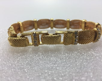Jackie Kennedy Mesh Bracelet with Clear Rhinestones 8 1/2 inches Long