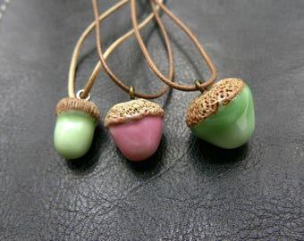 Acorn porcelain Necklace,