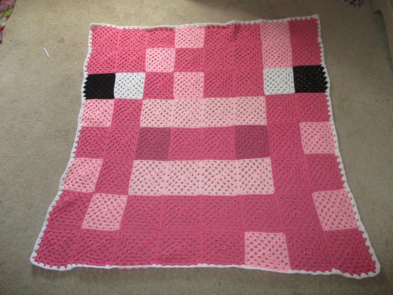 Pig block Minecraft afghan blanket throw blockhead