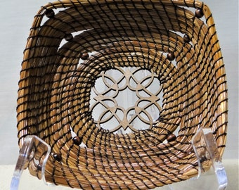 Brown Pine Needle Basket Beaded Pine Needle Basket Native American Pine Needle Coiled Basket For Him Home Decor Basket For Her Candy Basket