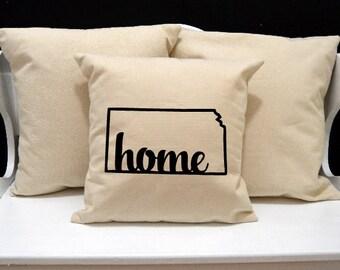 Kansas Home Pillow, Kansas Pillow, home pillow, pillow gift, Kansas gift, Envelope Pillow Cover, state pillow, KS pillow, 20x20 pillow
