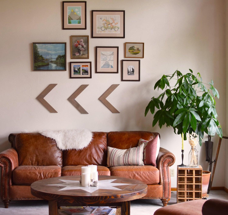 Home Decor Wall Art Set Of Three Wood Arrow Wall Art Chevron Home Decor Wall