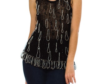 1980s Vintage Black Top with Silver Looped Beading  Size: XS
