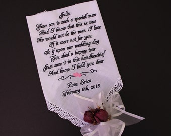 Mother of the Groom Gift from Bride, your son is such a special man, mother of the groom hankerchief, custom, Personalized, LS0F38SV208