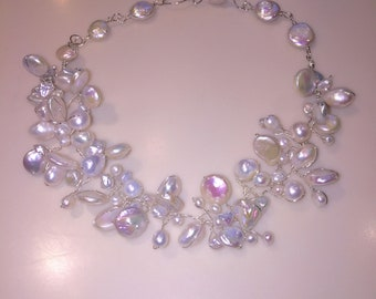 Luminuous White Fresh Water Pearl Necklace Choker Bridal