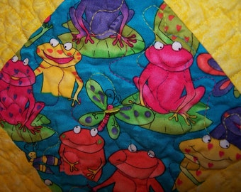 Quilt, Bold bright beautiful frog design handmade yellow patchwork quilt for Babes or as a happy table topper