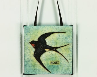 Soar - Barn Swallow Little Bird Ornament, Whimsical Wild Bird Miniature Word Art Wall Hanging